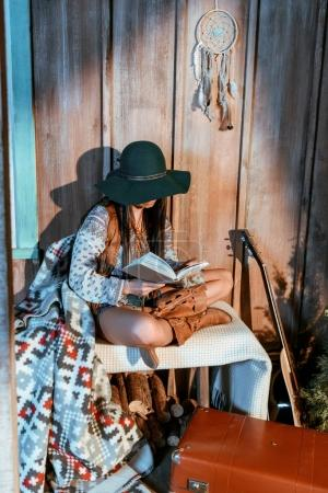 bohemian girl reading book