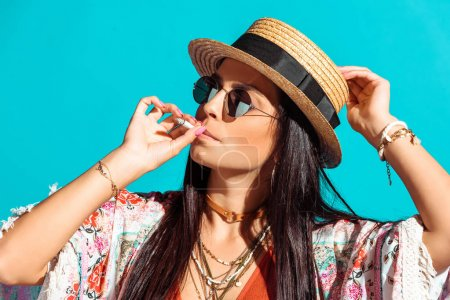 bohemian girl smoking cigarette