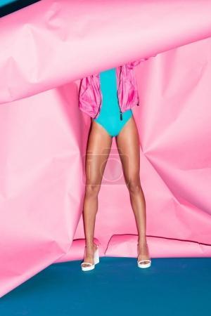 Stylish model in swimsuit
