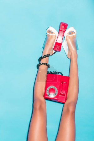 Legs with rotary phone