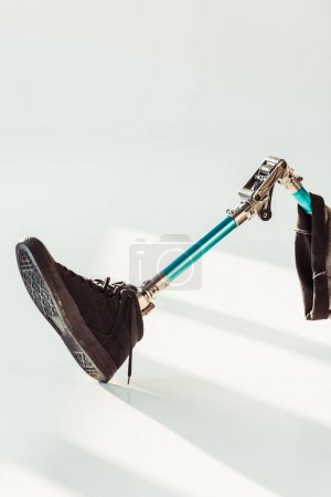 Photo for Close up view of leg prosthesis isolated on white - Royalty Free Image