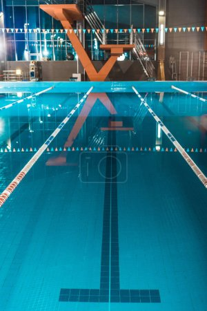 Photo for Vertical view of lanes of a competition swimming pool - Royalty Free Image