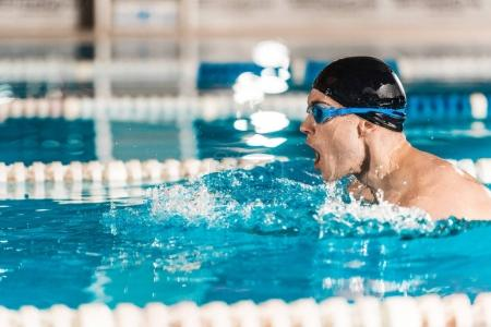 professional swimmer in goggles