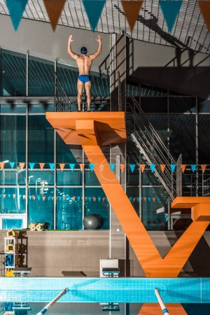 swimmer on diving platform