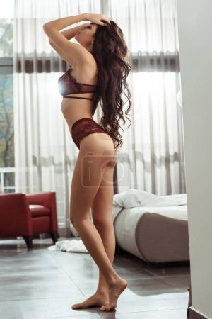 seductive woman with perfect body in lingerie