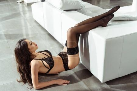 passionate woman in lingerie and stockings