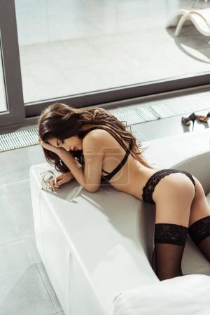 woman in black sexy lingerie