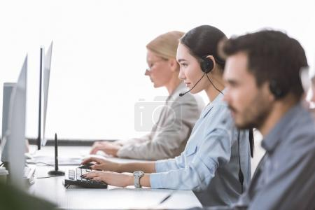 asian call center operator in office