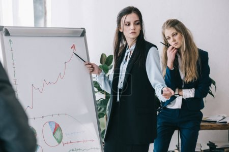 exhausted businesswomen making presentation at office
