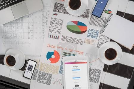 top view of business documents on workplace with digital devices and coffee