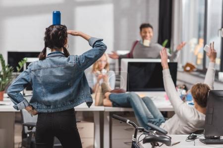 people having fun at modren office