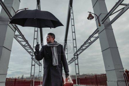 Photo pour Homme adulte solitaire avec parapluie et bagages marchant par pont - image libre de droit