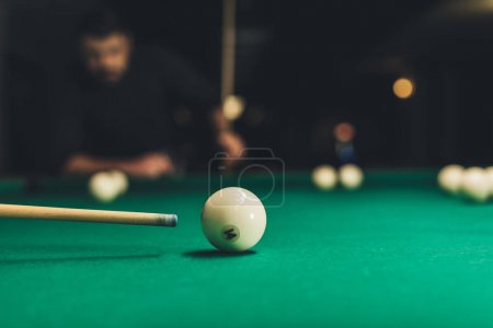 closeup pool table with russian billliard ball number 14