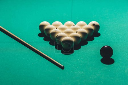 gambling table with russian billiard set and cue