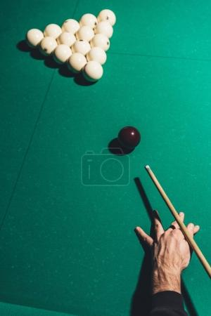 cropped image of male playing in russian pool