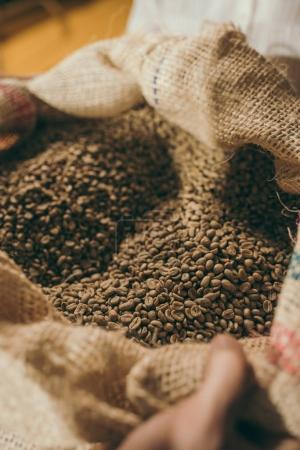 close up view of heap of coffee beans in sack bag