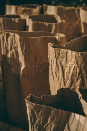 selective focus of arranged paper bags