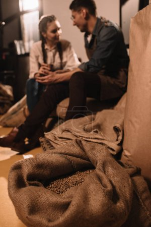 Photo for Selective focus of colleagues having coffee break together during work day at coffee shop - Royalty Free Image