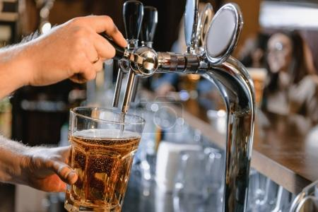 cropped image of barman pouring beer in glass at bar