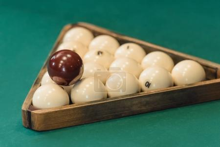 closeup view of russian pool balls set in triangle