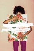 """Постер, картина, фотообои """"стильная девушка с розовой бумаге"""""""