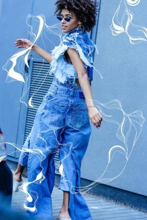 fashionable african american girl on street