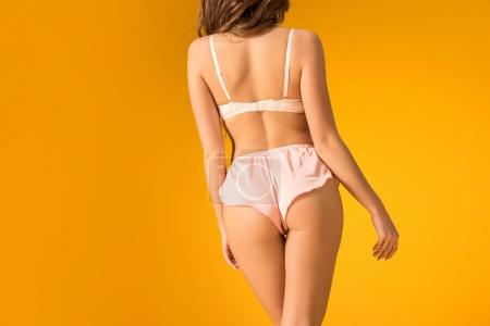 rear view of seductive girl in lingerie set isolated on orange
