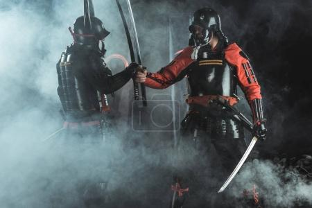 armored samurai greeting each other on black