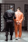 back view of prison officer leading prisoner in handcuffs