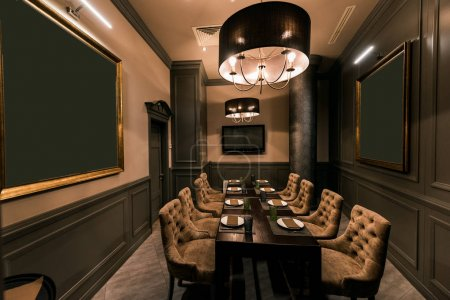Photo for View of stylish empty cafe with arranged tables and chairs for visitors - Royalty Free Image