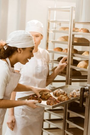 young female bakers putting fresh pastry on shelves at baking manufacture