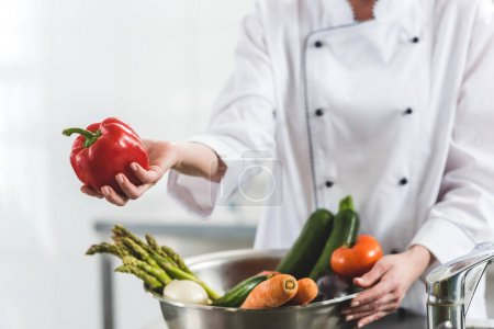 cropped image of chef giving red bell pepper to someone at restaurant kitchen