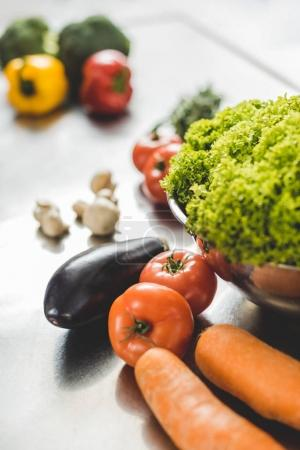 Photo for Ripe delicious unprocessed vegetables on table - Royalty Free Image