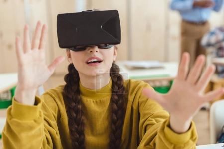 High school teenage student using virtual reality headset