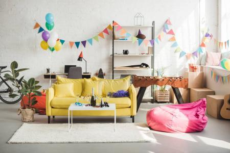 Photo for Interior of cozy room decorated with balloons and garland for party - Royalty Free Image