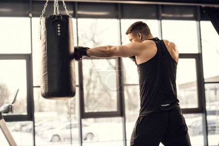 side view of muscular young boxer training with punching bag in gym