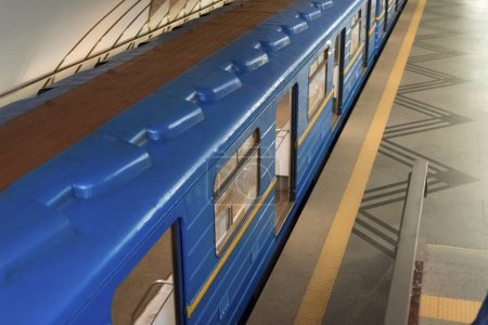high angle view of train at subway station