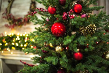 Photo for Closeup view of fir tree with Christmas decorations - Royalty Free Image