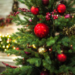 Closeup view of fir tree with Christmas decoration...