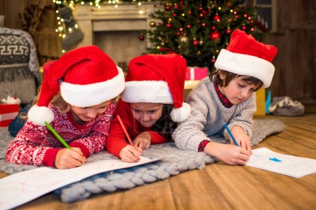 Happy children drawing picture