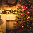 Decorated christmas tree with shiny baubles and de...