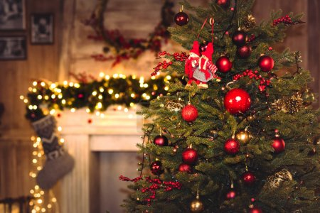 Photo for Decorated christmas tree with shiny baubles and decorations - Royalty Free Image