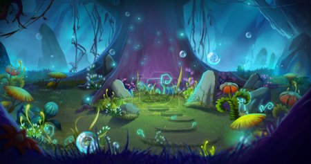 Fantastic and Magical Forest. Video Game's Digital...