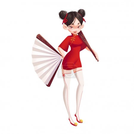 Cool Characters Series: Ancient Chinese Girl Holding Fans isolated on White Background