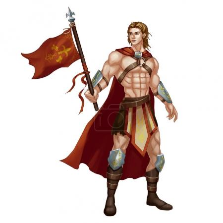 Cool Character: Beautiful Man, Standard bearer, War God isolated on White Background