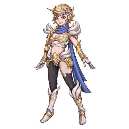 Cool Character: Unicorn Female Warrior isolated on White Background