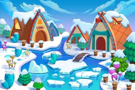 Illustration: The Human Being's Cottages in the Snow Land in the Great Ice Age! Cabin, Fence, Plant, Ice River. Realistic Cartoon Style Creative Scenery / Wallpaper / Background Design.