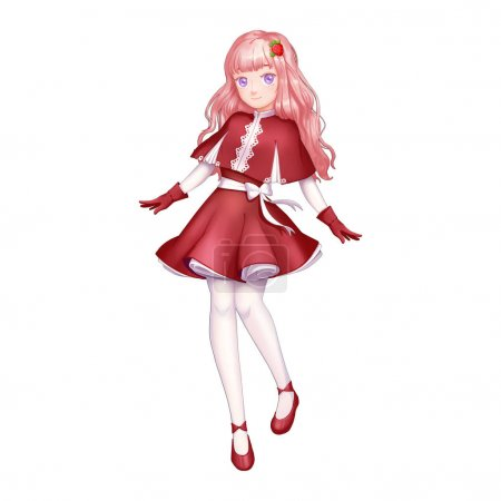 Strawberry Girl with Anime and Cartoon Style. Video Game's Digital CG Artwork, Concept Illustration, Realistic Cartoon Style Character Design