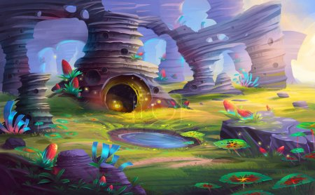 Alien Planet the Mountain and Cave with Fantastic, Realistic and Futuristic Style. Video Game's Digital CG Artwork, Concept Illustration, Realistic Cartoon Style Scene Design