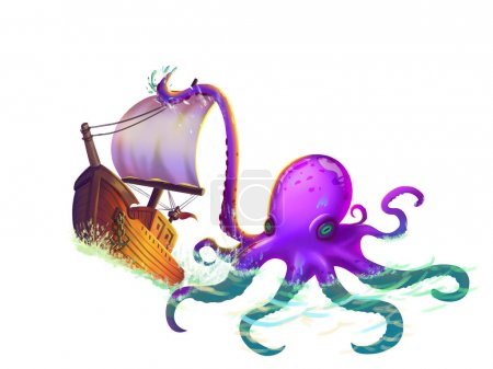 The Boat Wrapped in the Octopus Tentacles on the Sea with Fantastic, Realistic and Futuristic Style. Video Game's Digital CG Artwork, Concept Illustration, Realistic Cartoon Style Scene Design